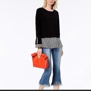 I.N.C. Black& White Solid & Stripe Bell Sleeve Top